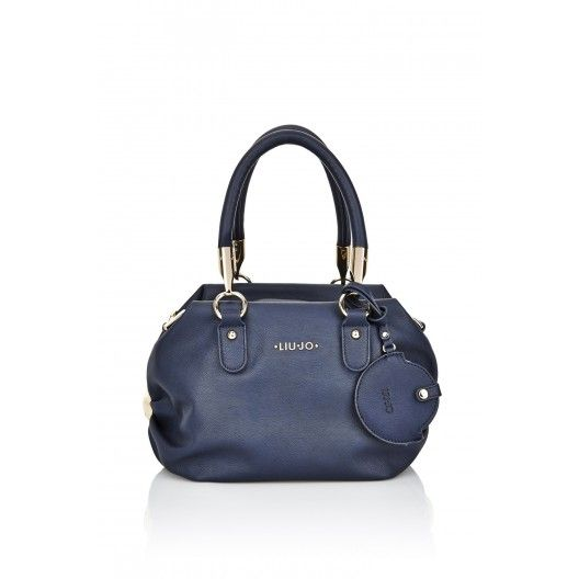 LIU JO BAG CLAIRE BLUE NAVY Small two-handle boston bag with metal connection, zip closure at the top, removable mirror case accessory, possibility to add a shoulder strap, lining with logo and inside pocket. Size: Height: 21cm, Width: 31cm, Depth: 12cm, Handle Drop: 23cm  #liujo #italianbrand #handbag #bag