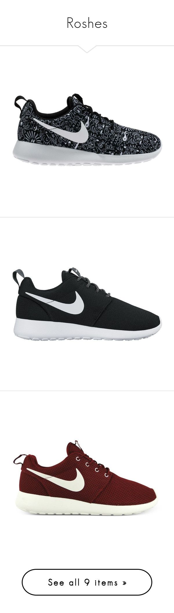 """""""Roshes"""" by mikaria-fashion ❤ liked on Polyvore featuring shoes, sneakers, nike, zapatos, shoe club, women, jogging shoes, white and black shoes, black and white print shoes and nike shoes"""