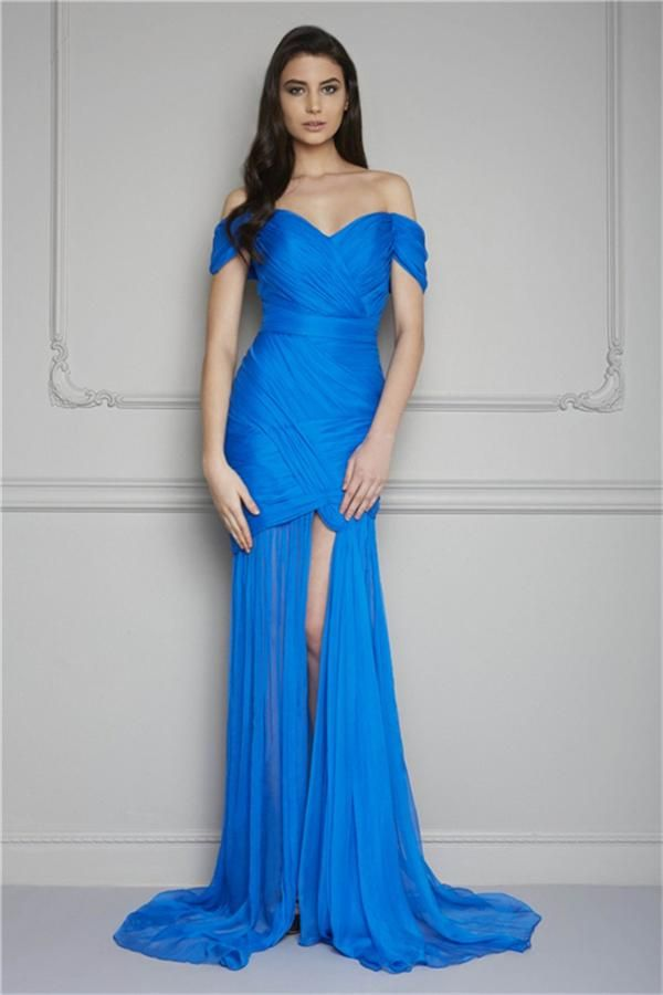 Shop Dresses Online Sexy A Line Off Shoulder Sweetheart Neckline Chiffon Evening Dresses With Ruched Bodice And Split Side Detail Red Prom Gowns 2014 New Cheap Cheap Evening Dresses Australia From One_love, $109.07  Dhgate.Com