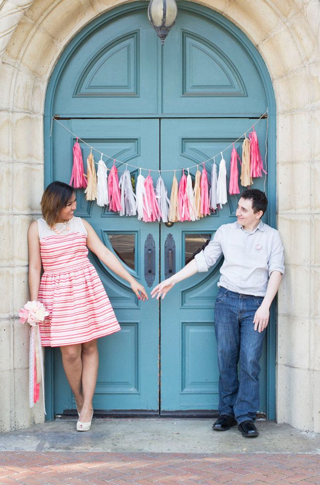 Pink and gray tassles. Wedding Anniversary Photo Ideas by Peterson Photography