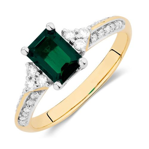 Created Emerald & 1/4 Carat TW Diamond Ring