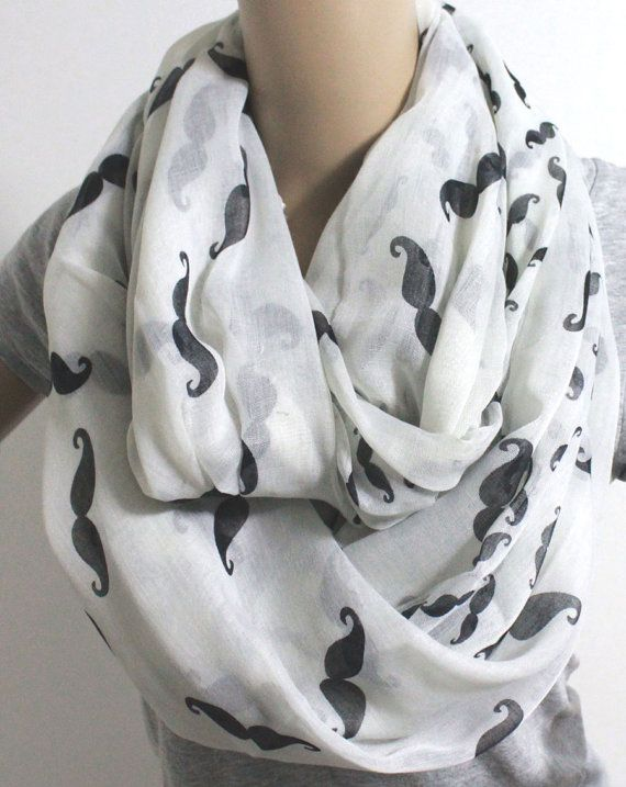 Hey, I found this really awesome Etsy listing at https://www.etsy.com/listing/127852483/white-mustache-scarf-infinity-silky-loop