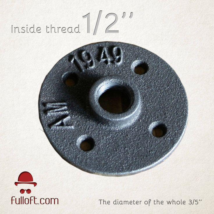 1/2 inch Floor Flange, Industrial, Steampunk, Rustic, DIY parts, 1/2 inch by Fulloft on Etsy