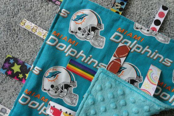 Miami Dolphins Baby Lovey/Blanket Sensory Lovey by BrakesForFabric