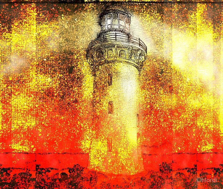 Fiery Lighthouse Abstract! Intense, rich, orange and red, textural, tactile and prominent! Make a bold statement with this one, and add some nautical drama!