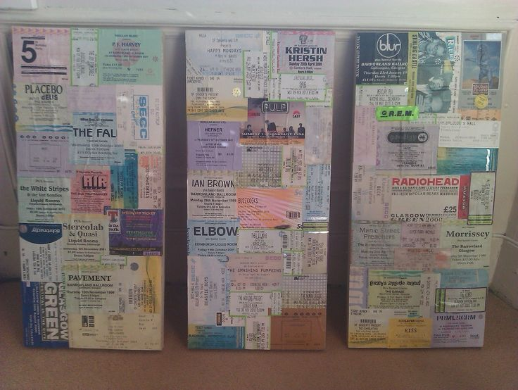 Don't throw those gig tickets away! Display them and enjoy them every day! .  Free tutorial with pictures on how to make a hanging in under 90 minutes by creating, decorating, embellishing, papercrafting, collage, decoupaging, scrapbooking, and not sewing with scissors, canvas, and pva glue. Inspired by vintage & retro. How To posted by Kt Bing. Difficulty: Simple. Cost: Cheap. Steps: 8
