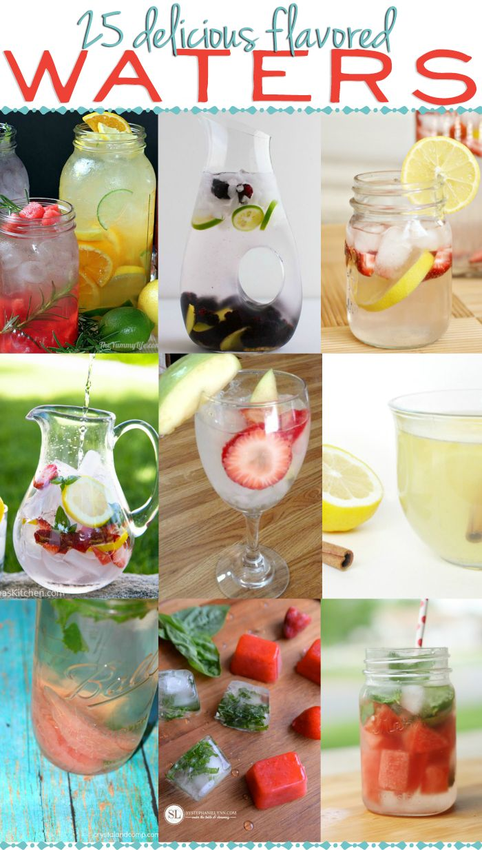 25 Flavored Water Recipes  via www.hairsprayandhighheels.com