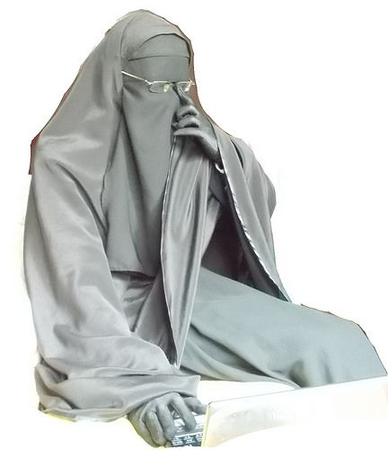 Muslimah with Glasses in Niqab, Khimar, Abaya, and Gloves