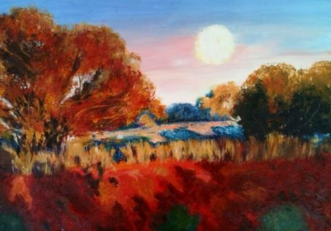 Australian Outback in oils  ( After Warwick Fuller)