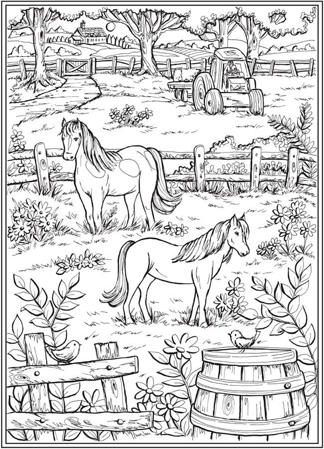 Farm Scene With Horses In Pasture Fence Tractor Trees Plants