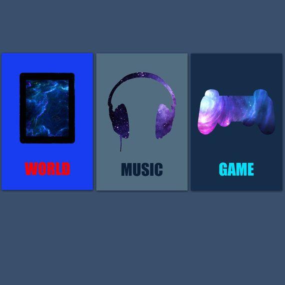 3 affiches garçon geek stylées pour décoration par alexiableu