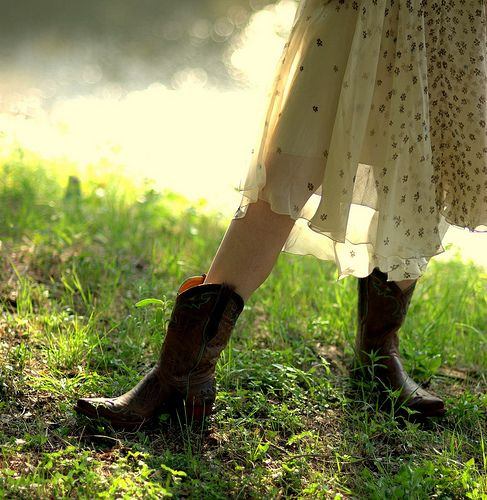 Sturdy boots and floaty dresses make me happy!