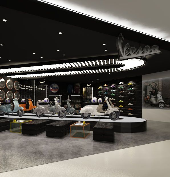 New Vespa concept store 3D design. A destination for the tens of thousands of Indonesian Vespa enthusiasts.