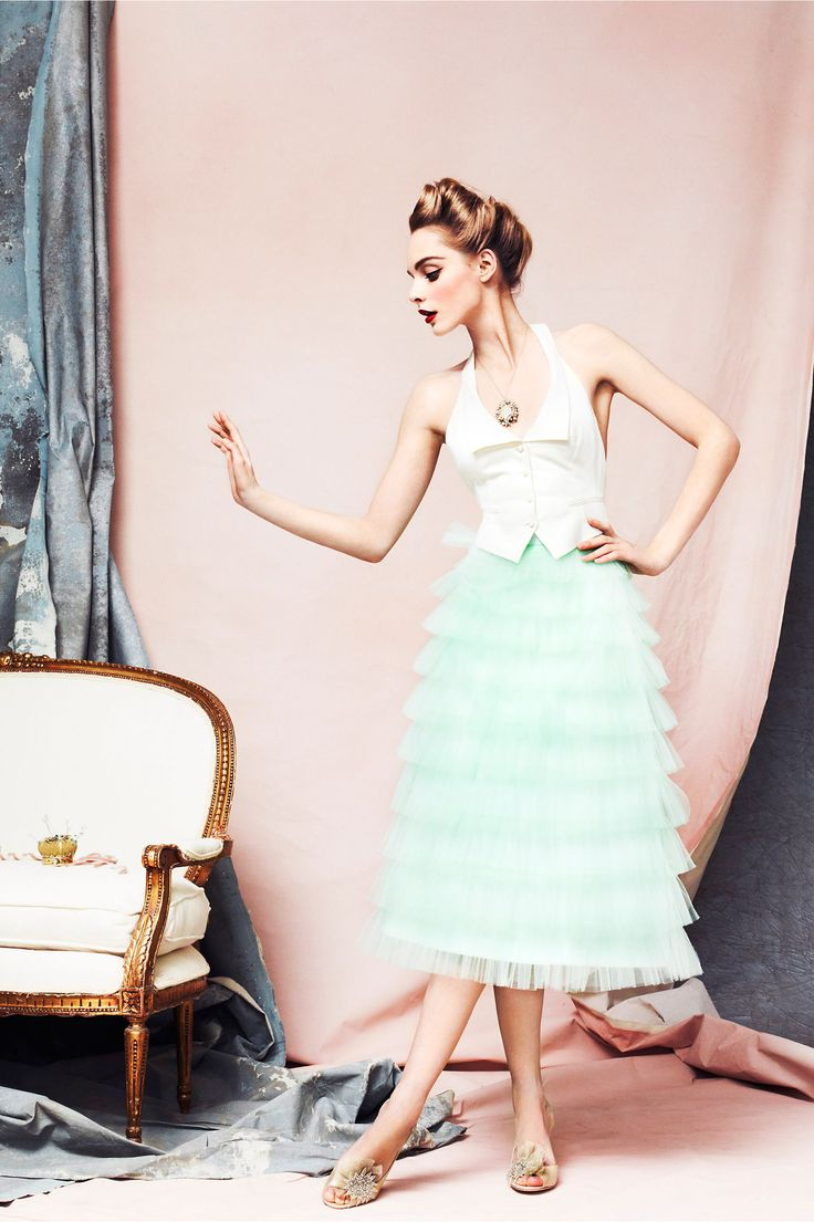 Minty Crinoline Skirt in EXPLORE The Latest Color Your Maids Happy Pastel Collection at BHLDN