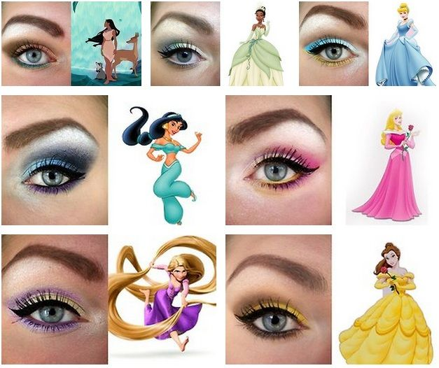 eye makeup for every disney princess, no matter which one i'm feeling.