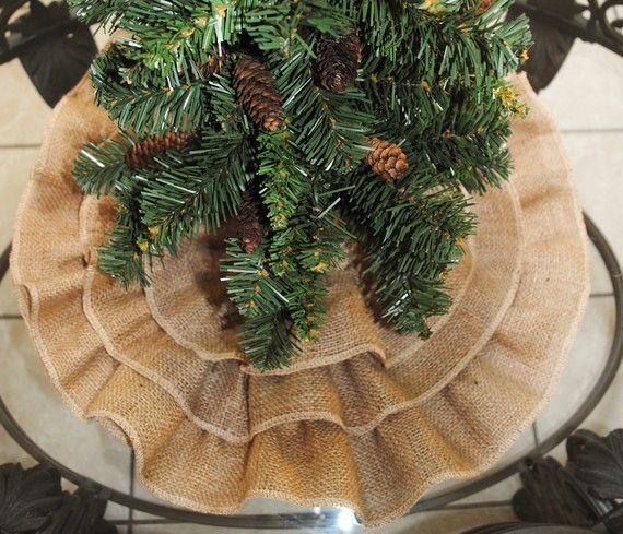 Love this ruffle burlap Christmas tree skirt.