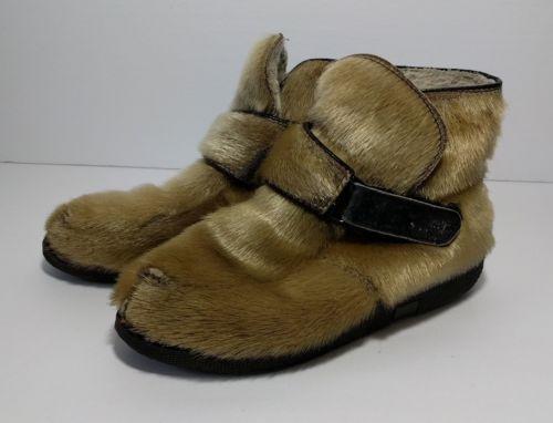 Vintage Blondo Fur Yeti Ankle Boots Size 6 Winter Eskimo Shoes Cream Mukluks