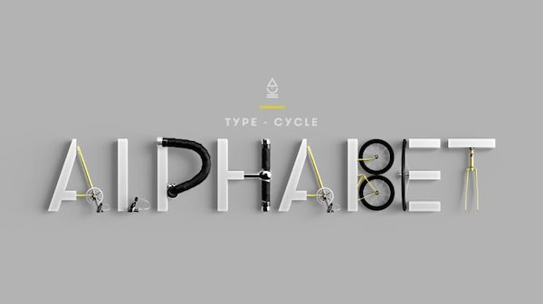 Brilliantly Animated Typeface Uses Bicycle Components To Complete Each Letter - DesignTAXI.com