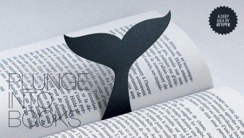 Marcapáginas de cola de ballena
