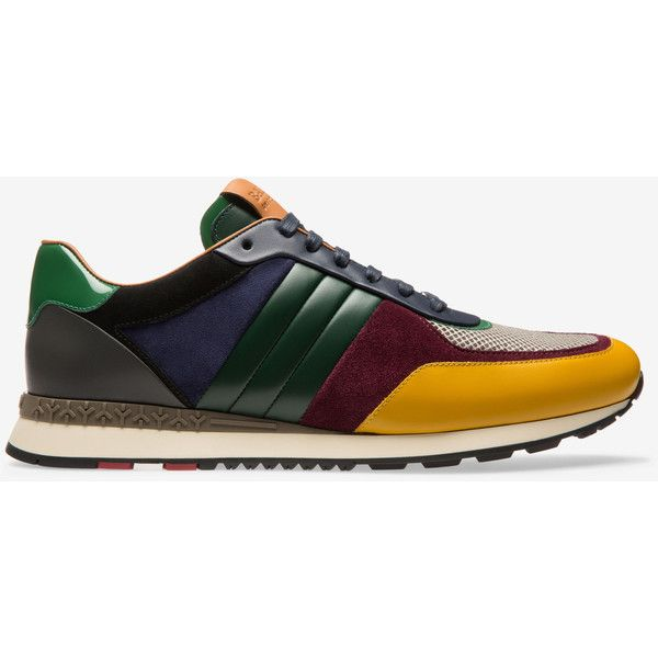 Bally ASCAR Men's calf leather sneakers in curry ($595) ❤ liked on Polyvore featuring men's fashion, men's shoes, men's sneakers, mens sneakers, mens running shoes, bally mens sneakers, bally mens shoes and mens running sneakers