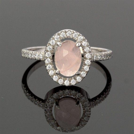Vintage Diamond Rose Quartz Engagement Ring in 18k White Gold