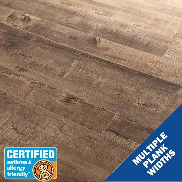 12mm Reclaimed Pine Brindle Laminate Flooring |106820 Reclaimed Pine Brindle laminate flooring features random plank widths, beveled edges, and finish layer textures, all designed to closely resemble a realistic wood look. It's also built to stand everyday wear and tear with 12mm thickness, AC3 finish layer, acoustical properties, and better indoor air quality.
