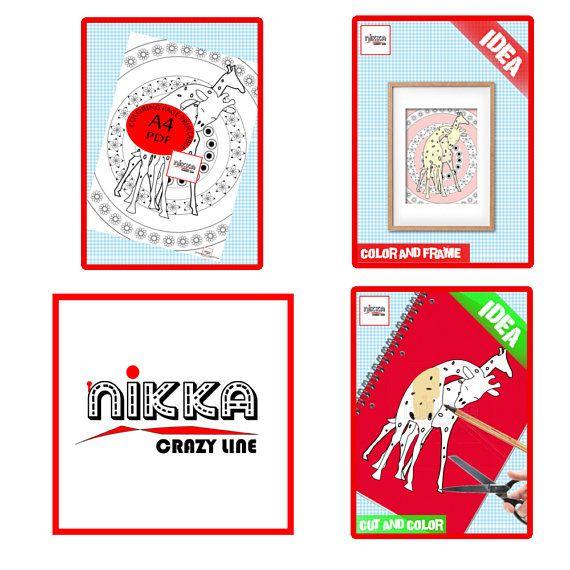 Adult and kids coloring page  giraffe printable   Digital - Pagina da colorare per adulti e bambini - disegno da colorare - giraffa stampabile - Download digitale - PDF download - A4 -