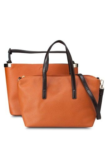 Clean Metal Side Slouch Bag from River Island in orange_7