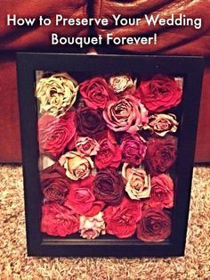 Here is such a smart way to keep your wedding flowers forever. What a cute DIY wedding project!