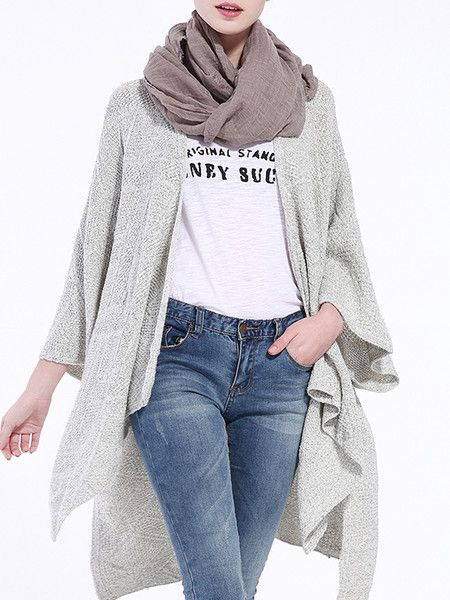 Gray Solid Color Knitting Cardigan
