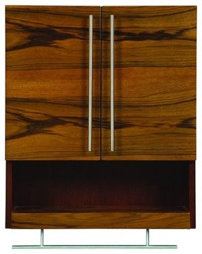 decolav 5261blm mila wall mounted cabinet in black limba and mahogany modern bathroom storage