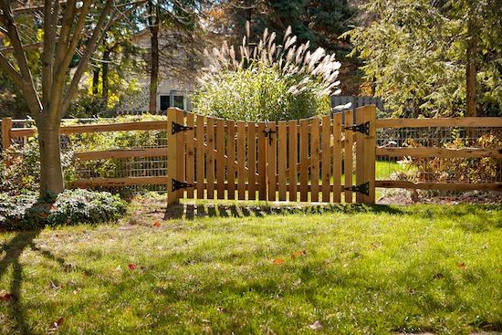 Garden Gate: 2 Rail Cedar Split Rail with Concave Red Cedar Picket Gates