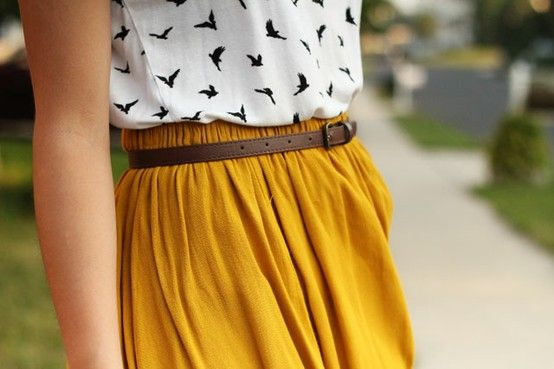 Mustard skirt, bird print, blouse