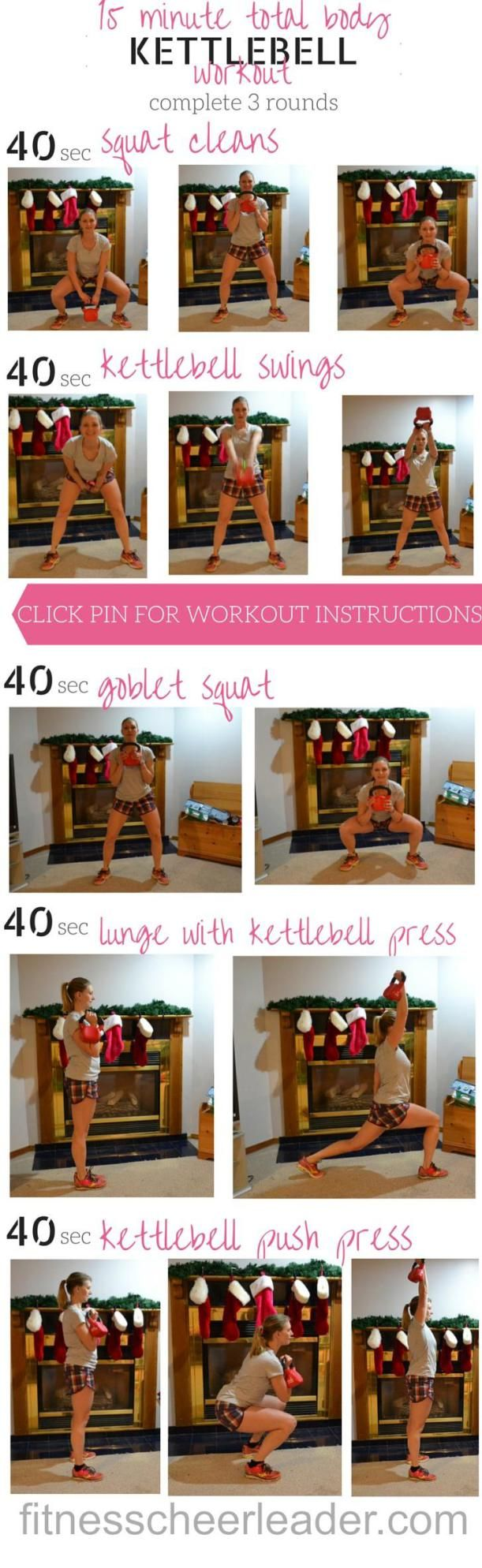 15 min full body kettlebell workout for runners.  Do this routine 3 times a week to become a faster runner.  CLICK PIN FOR WORKOUT INSTRUCTIONS AND INSTRUCTIONAL VIDEOS. via @fitcheerldr LINK: http://fitnesscheerleader.com/fitness/running/become-stronger-runner-kettlebells/