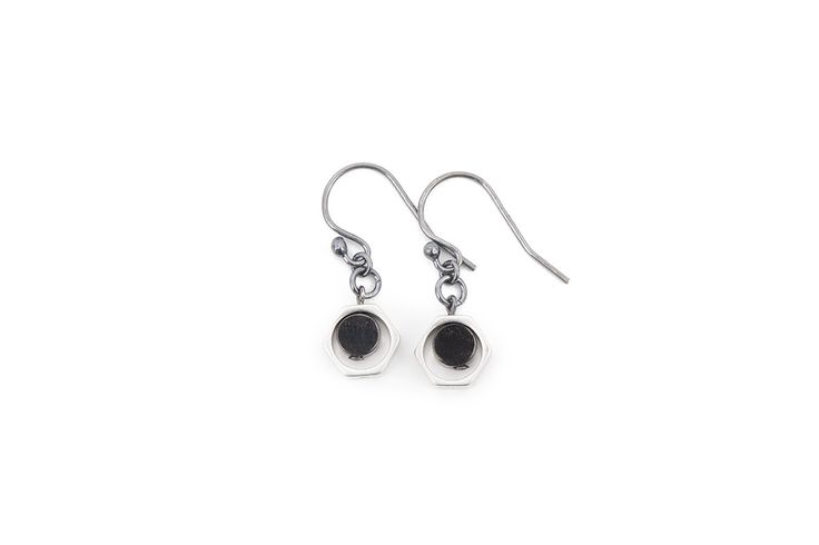 Matte silver, oxidized brass and silver earrings