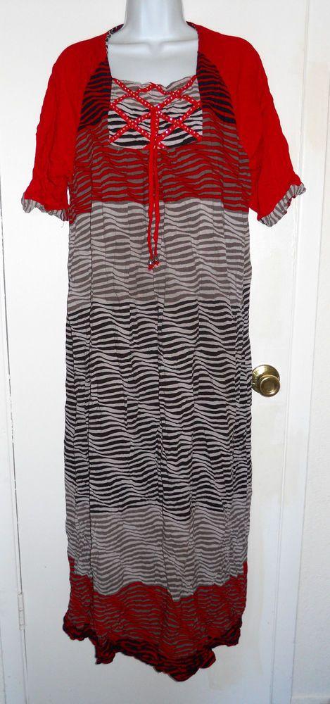 Besme Altan red white blue beige full length maxi caftan dress XXL fits like L #Besme