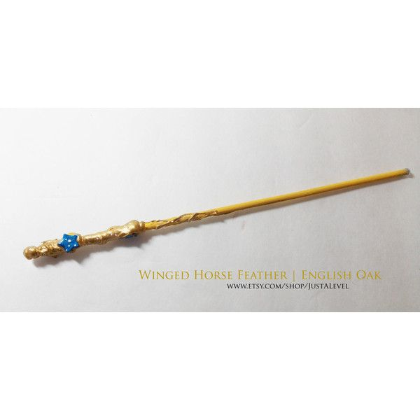 Honey Star Harry Potter Inspired Wand (Winged Horse Feather English... ($14) ❤ liked on Polyvore featuring home, home decor, handmade home decor, star home decor, english home decor and inspirational home decor