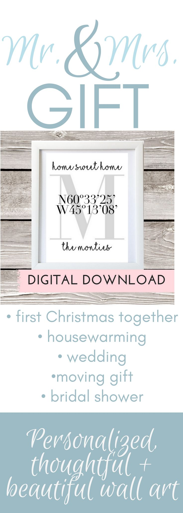 Home Sweet Home Welcome Printable makes decorating easy! Makes a great addition to your gallery wall, as a thoughtful housewarming gift or as a sweet first Mr. + Mrs. Christmas Gift. The print includes customization for your Family Name and Home Coordinates. Upon purchase you will promptly receive the 8x10 and 5x7 JPEG files. You are able to conveniently print these right from home, or sent to a print lab.