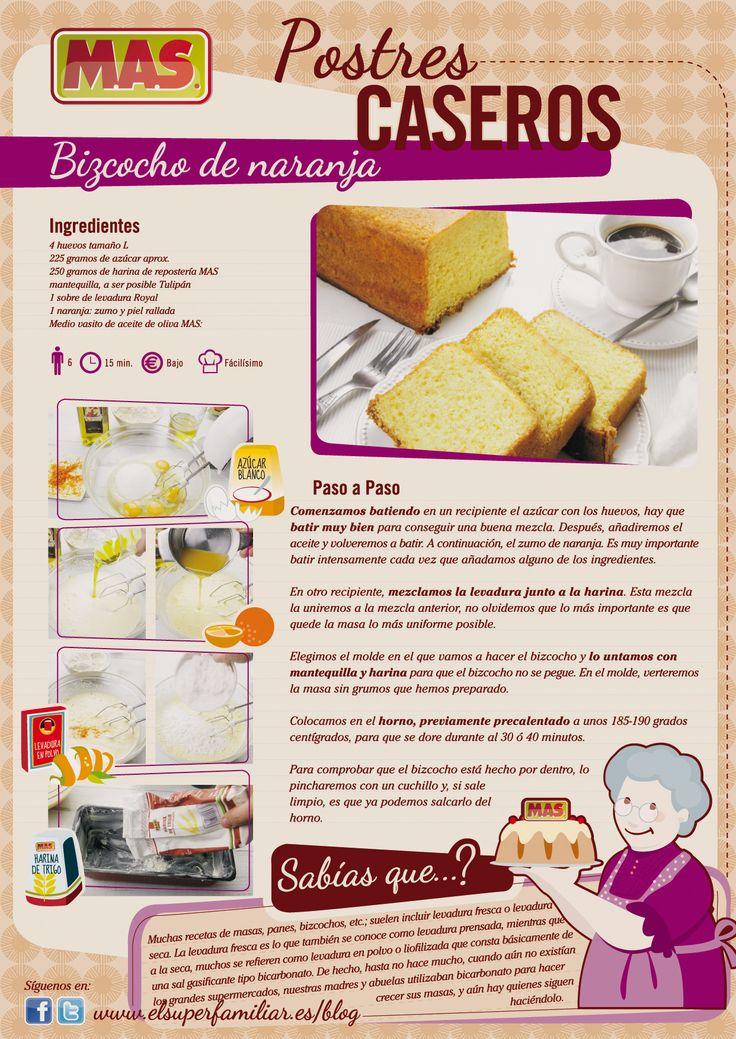 Bizcocho de naranja, sencillo y muy rico   #reposteria #recetas
