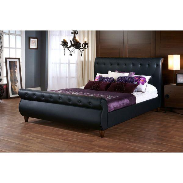 Ashenhurst Black Modern Sleigh Bed with Upholstered Headboard - Full Size - Overstock™ Shopping - Great Deals on Baxton Studio Beds