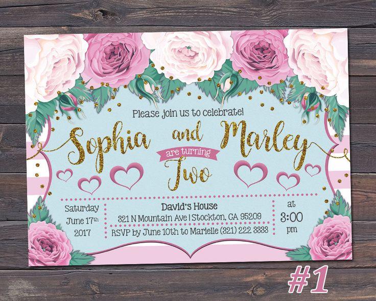 Twins Birthday Invitation / Joint Birthday Invitation / Sibling Birthday Invitation / Floral Girl Birthday Invitation / ANY AGE / by TheFUNtasticDesign on Etsy