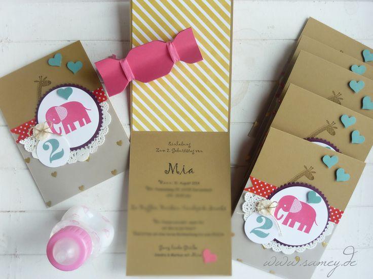 Einladung Zum 2 Geburtstag, Kindergeburtstag, Handgemachte Karten, Stampin  ´UP!, Sandra Kolb Www.samey.de | Amalia Geburtstag | Pinterest | Einladungen,  ...