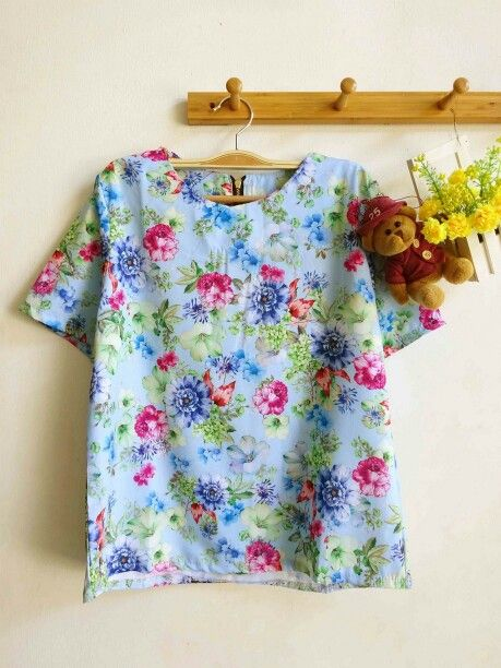 Pastel floral top #light blue # 69idr