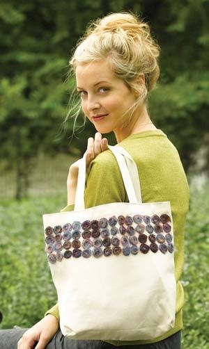 canvas bag with spiral mohair embellishments. Great idea for spirals/buttons on a crochet bag.