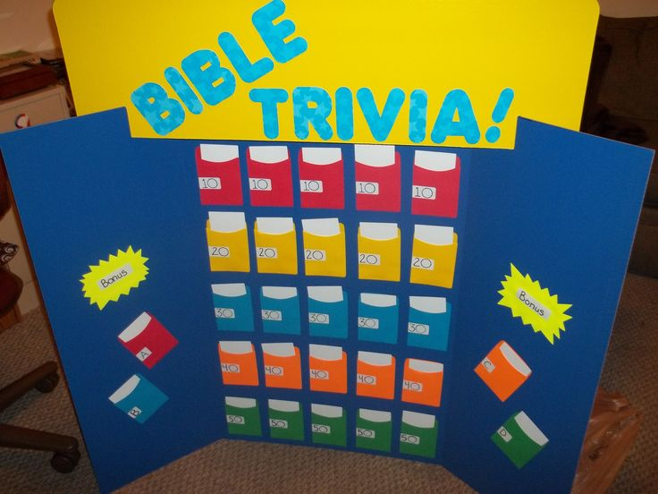 My Bible Trivia board made from a project board, library card sleeves & index cards! Now to play!