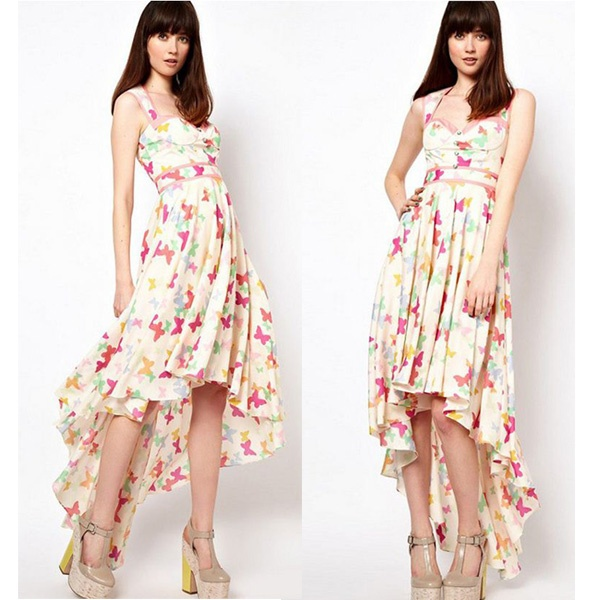 Dresses New Fashion 2013 Summer Women Brand Irregular Colors Butterfly Patterns Strap Dresses Short In Front Long  WQZ9401-in Dresses from Apparel  Accessories on Aliexpress.com $65.99