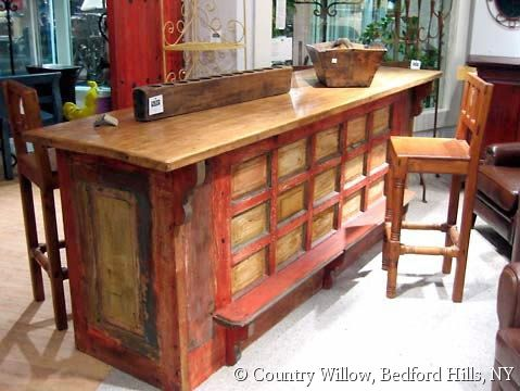 Rustic Distressed Finish Bar Height Custom Kitchen Island With Footrest Country Willow Furniture