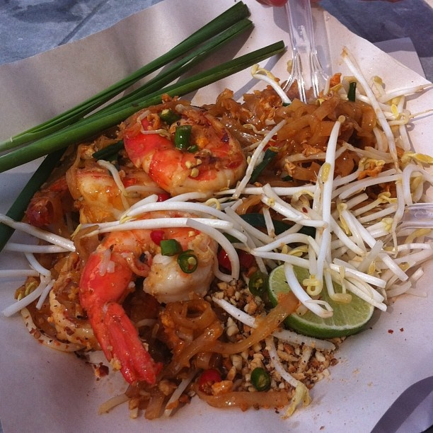 Pad Thai with Prawns on Patong Beach
