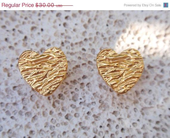 gold heart studs heart earring post earrings gift by preciousjd