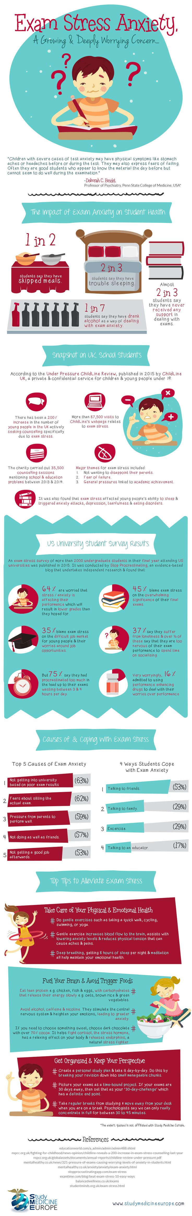 How to Cope With Stress During Exams Infographic - http://elearninginfographics.com/cope-with-stress-during-exams-infographic/